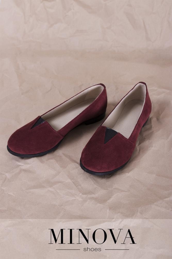 Туфли №1791М-бордо замш