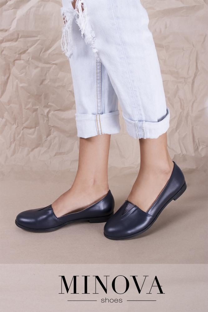 Туфли №1791М-синяя кожа