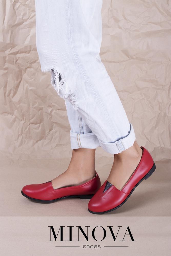 Туфли №1791М-красная кожа