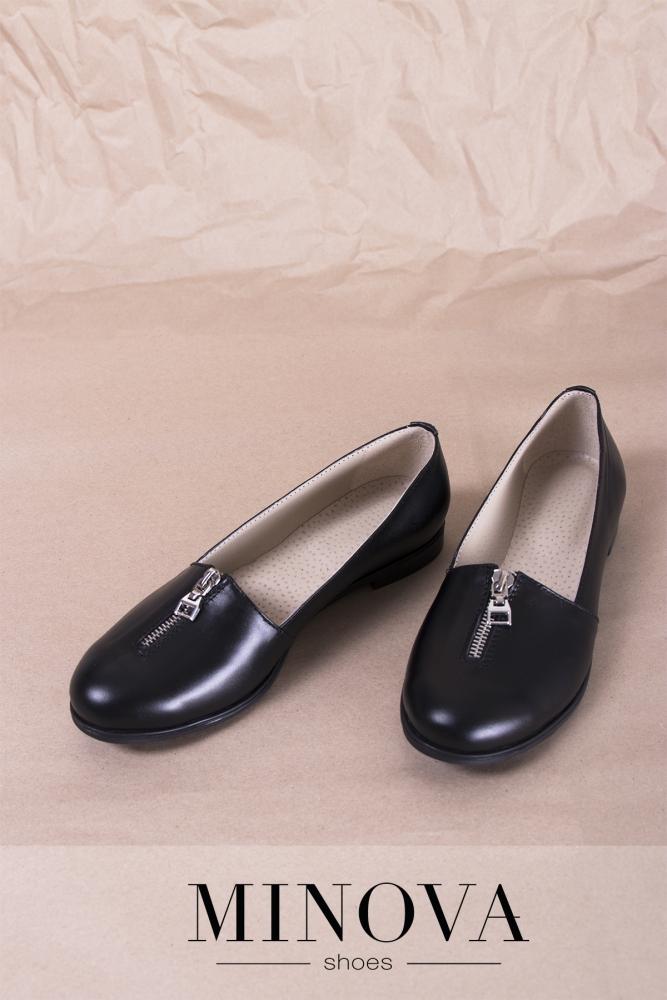 Туфли №1721М-черная кожа