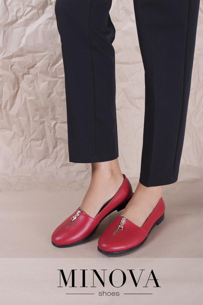 Туфли №1721М-красная кожа
