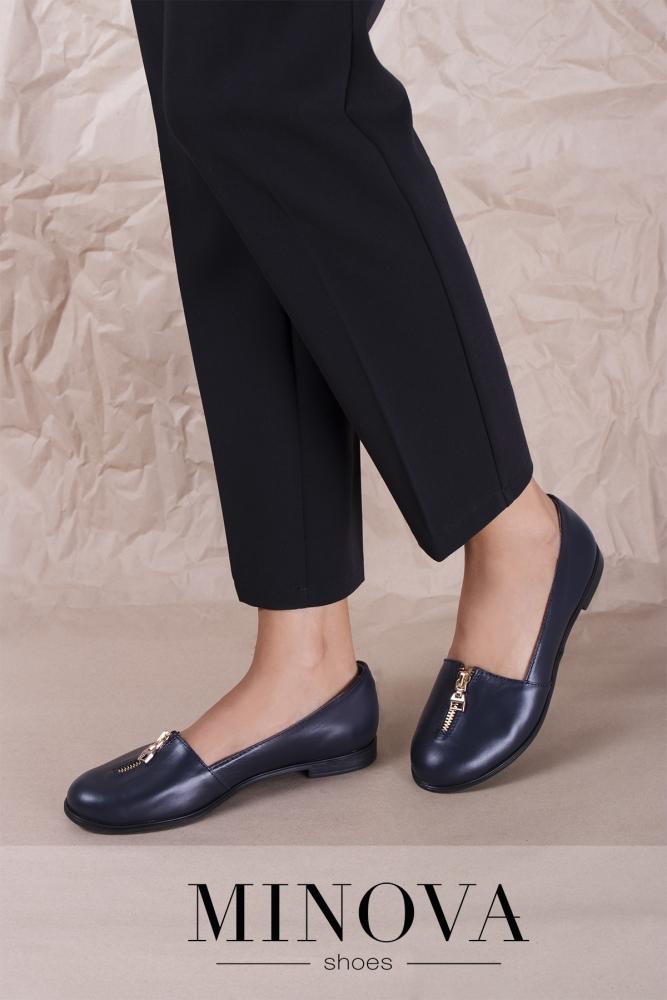 Туфли №1721М-синяя кожа
