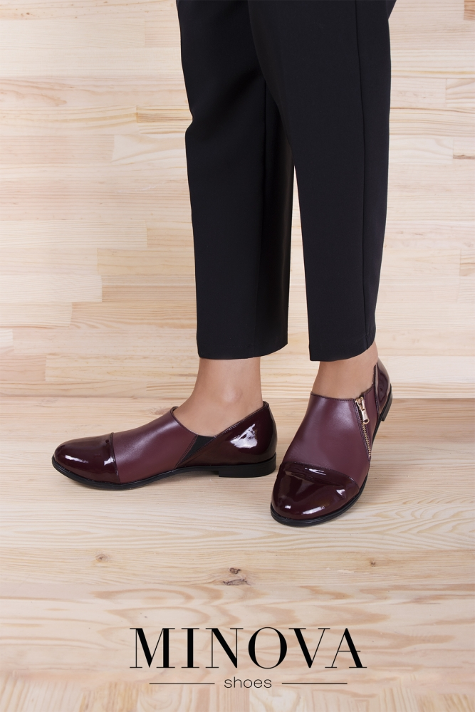 Туфли №188М-бордо кожа+лак