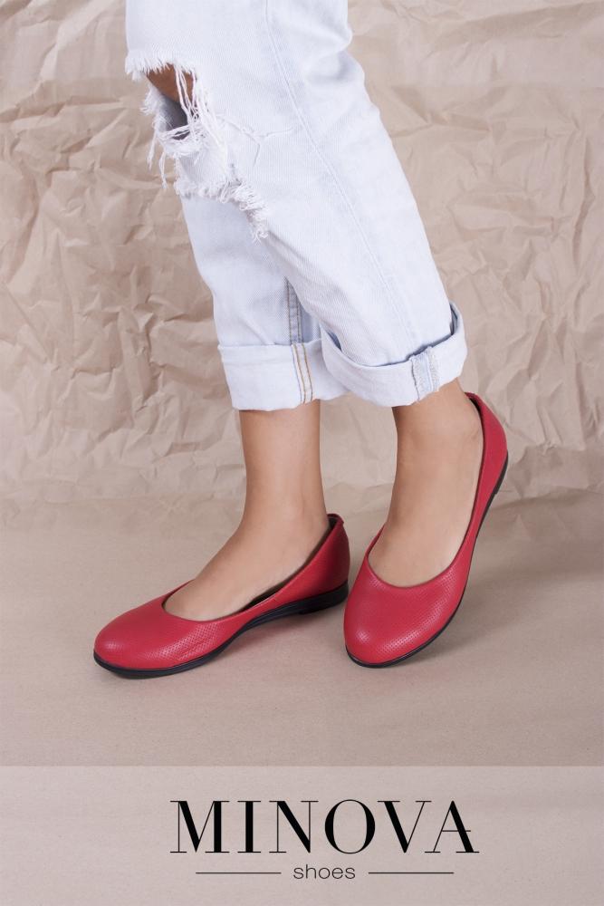 Туфли №1711М-красная кожа