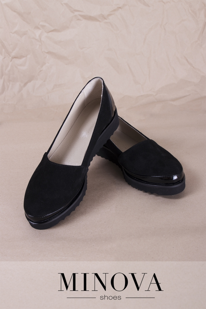 Туфли №201М-черный замш+лак