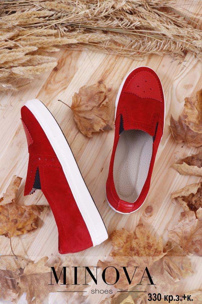 Туфли №330-красный замш