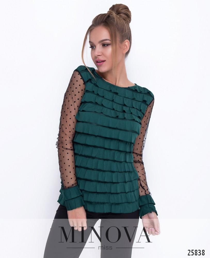Блуза №219-темно-зеленый