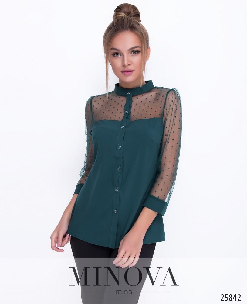 Блуза №1095-темно-зеленый