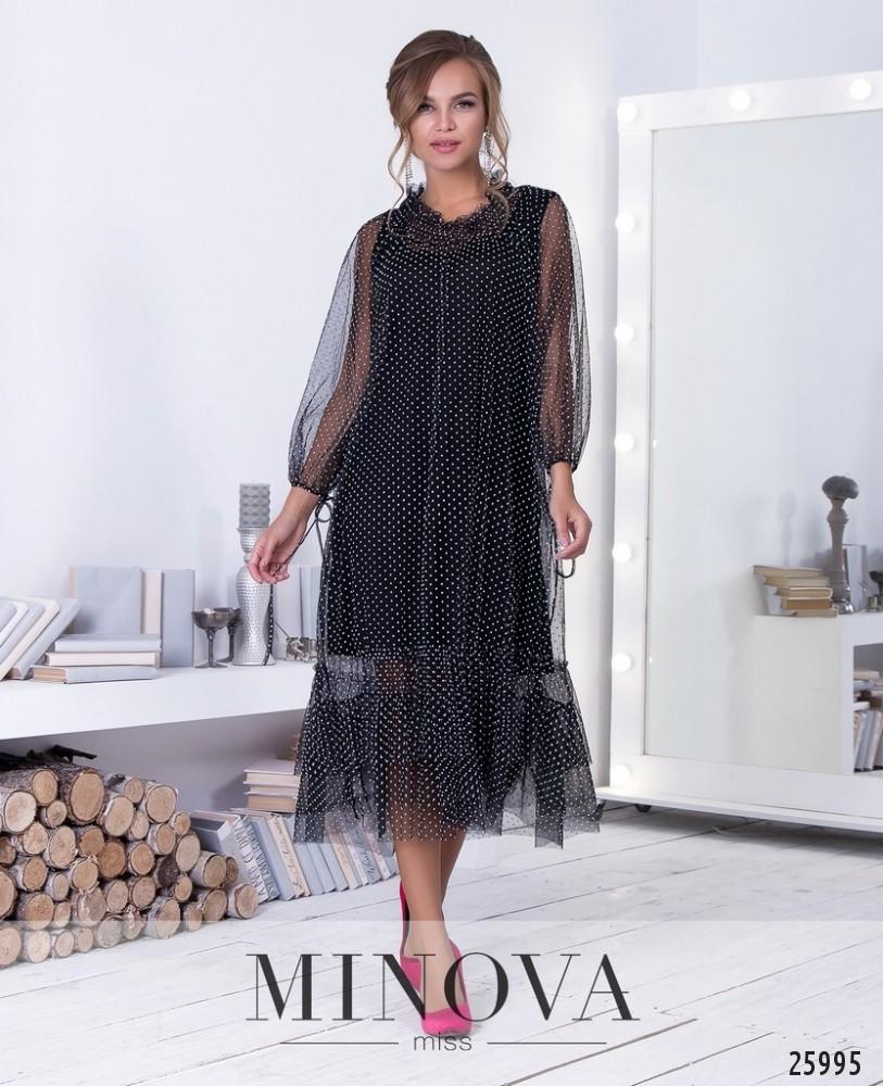 Платье №211-2-черно-белый