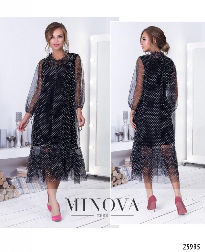 Платье №211-2-черно-белый (sale)