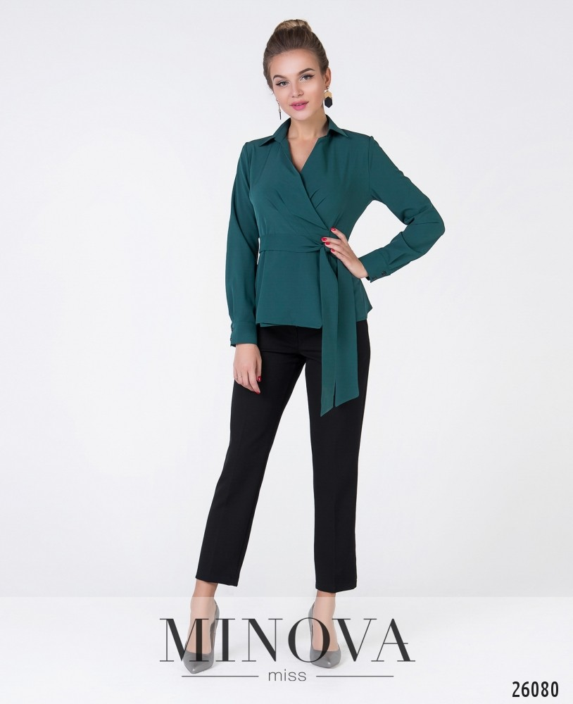 Блуза №3007-темно-зеленый