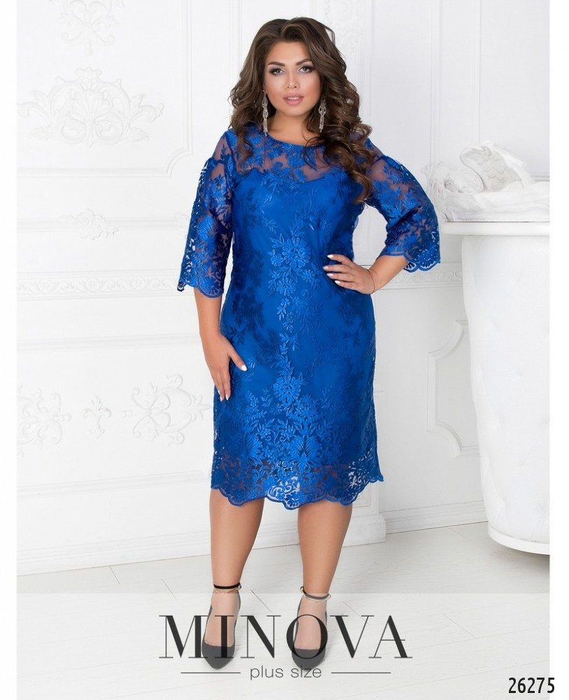Платье №450А-синий