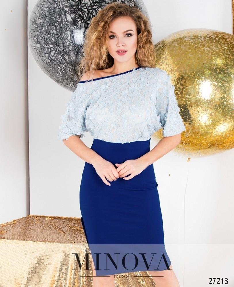 Платье №6109-голубой