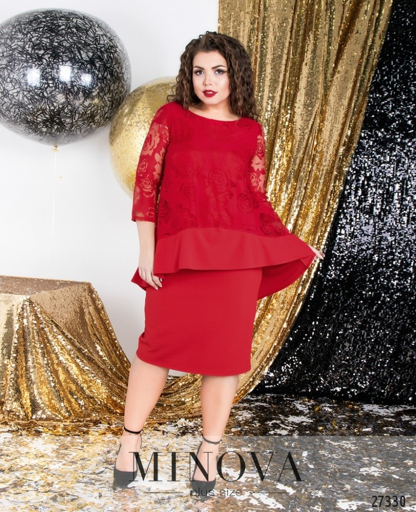 Платье №6116-1-красный