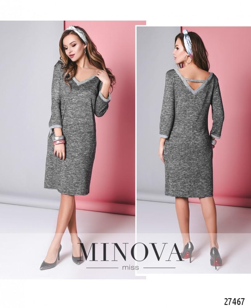 Платье №6136-серый