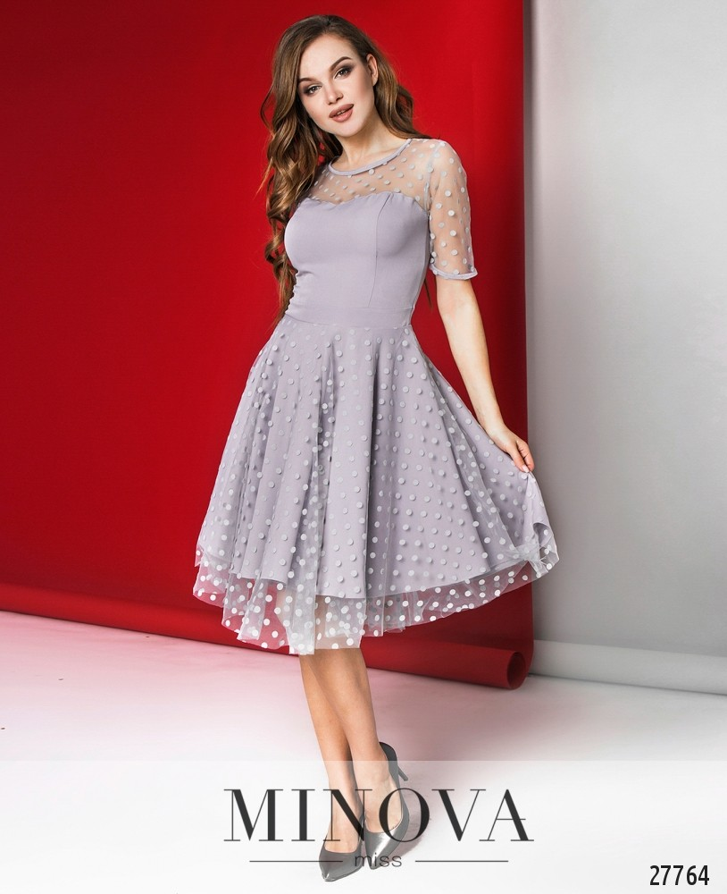 Платье №1069-серый