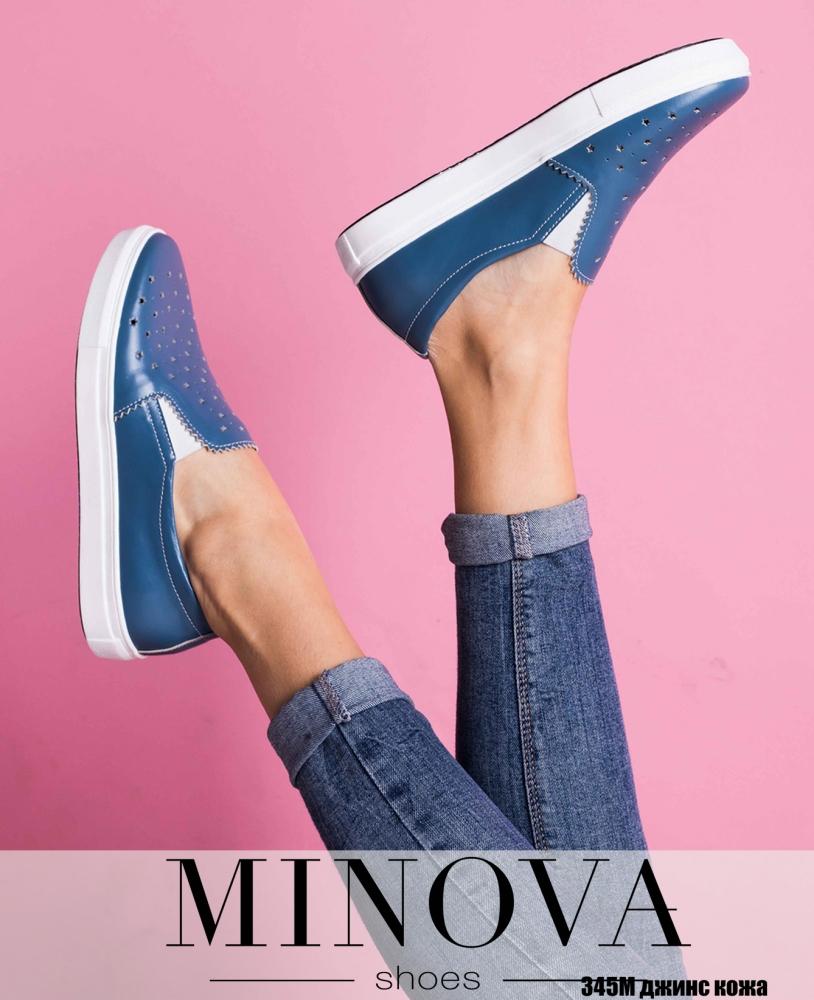 Туфли №345М-джинс кожа
