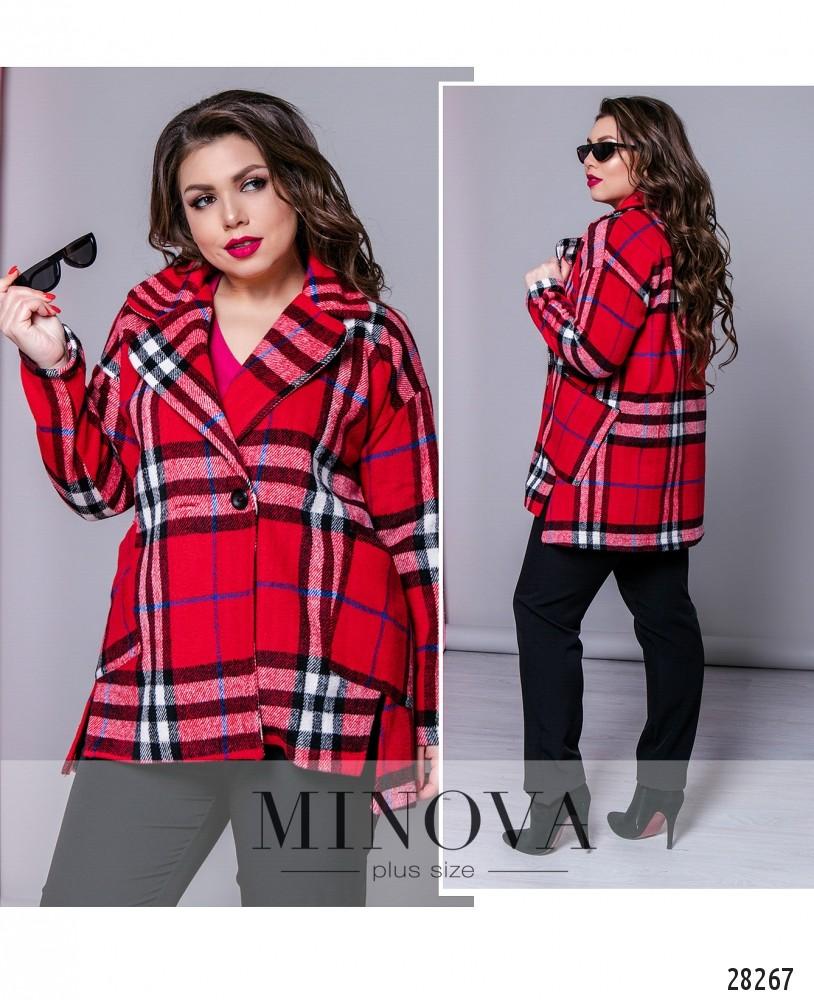 Пальто №637Б-красный
