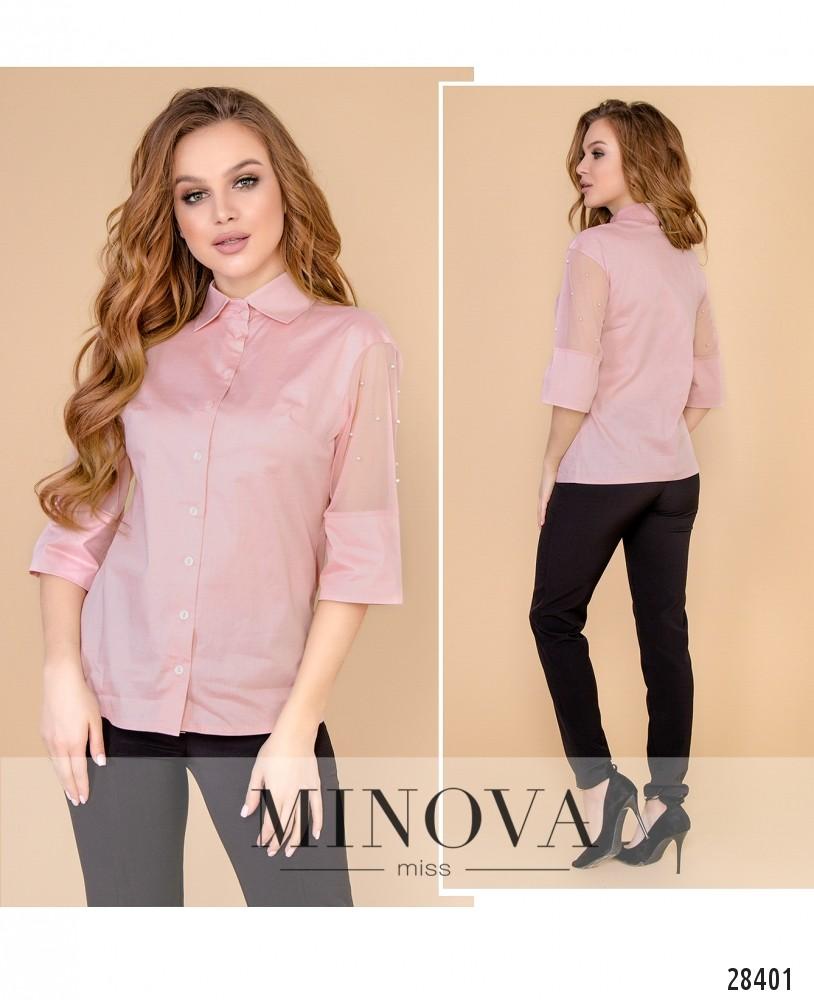 Блуза №4099-пудра