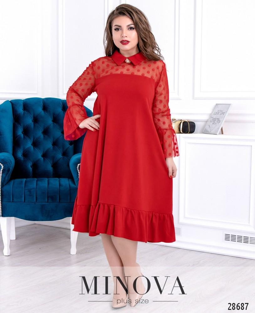 Платье №628-красный