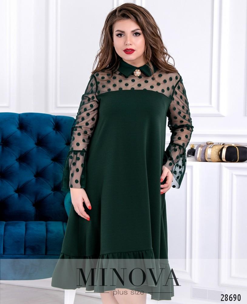 Платье №628-темно-зеленый
