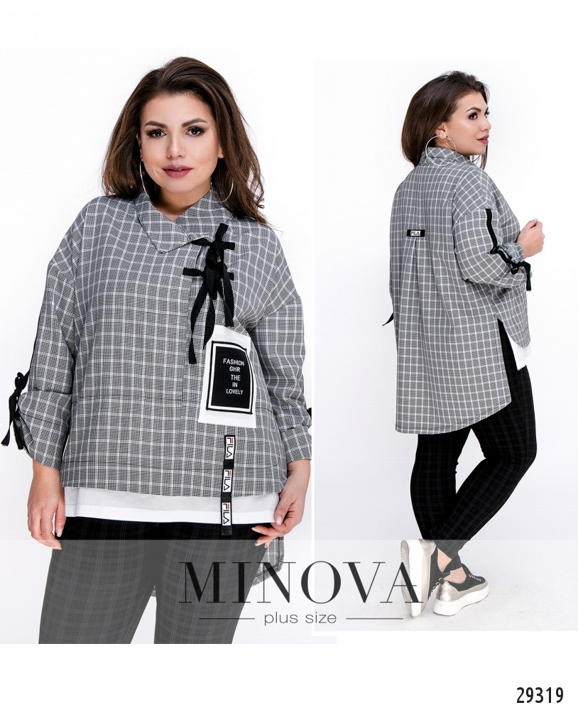 Рубашка №419-серый