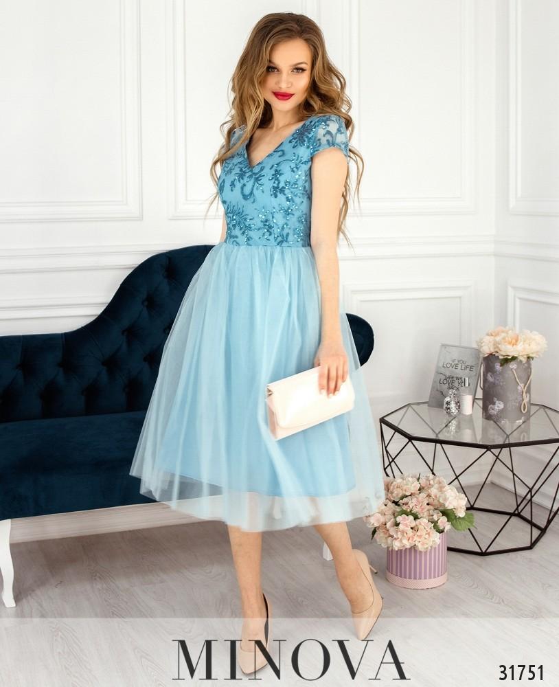 Платье №17290-голубой