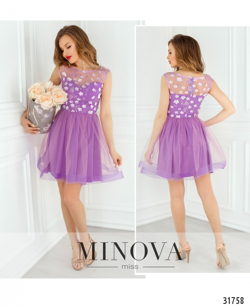 Платье №1821-сиреневый (sale)