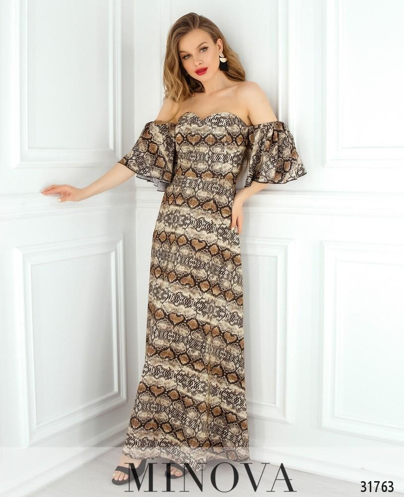 Платье №1823-коричневый
