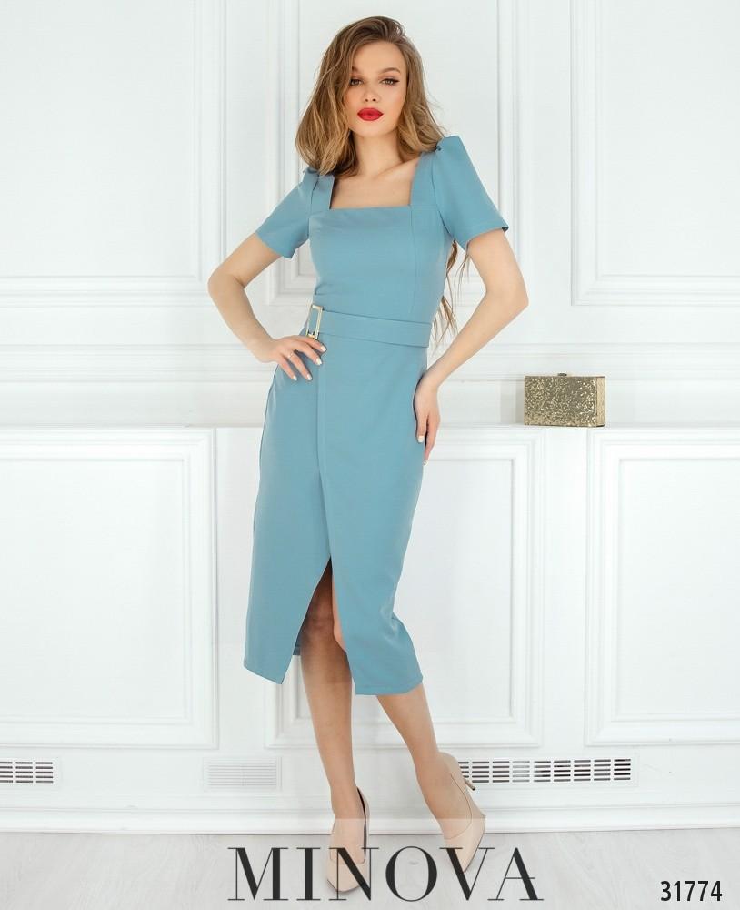 Платье №8607-голубой