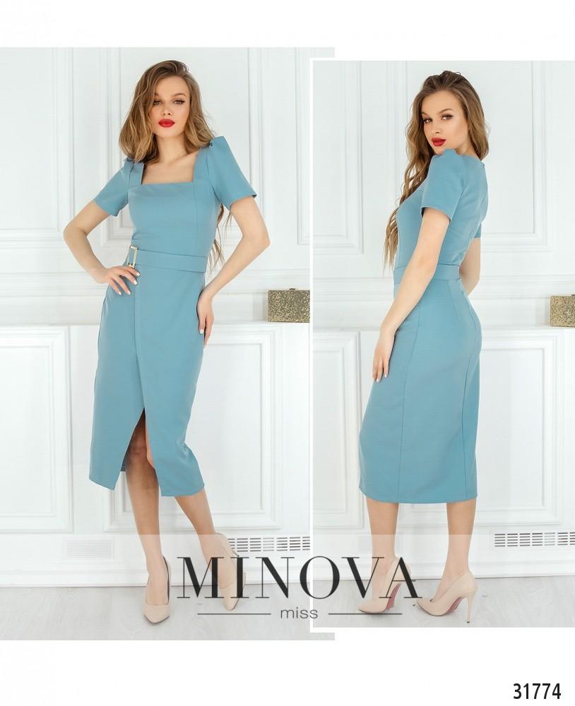 Платье №8607-голубой (н)