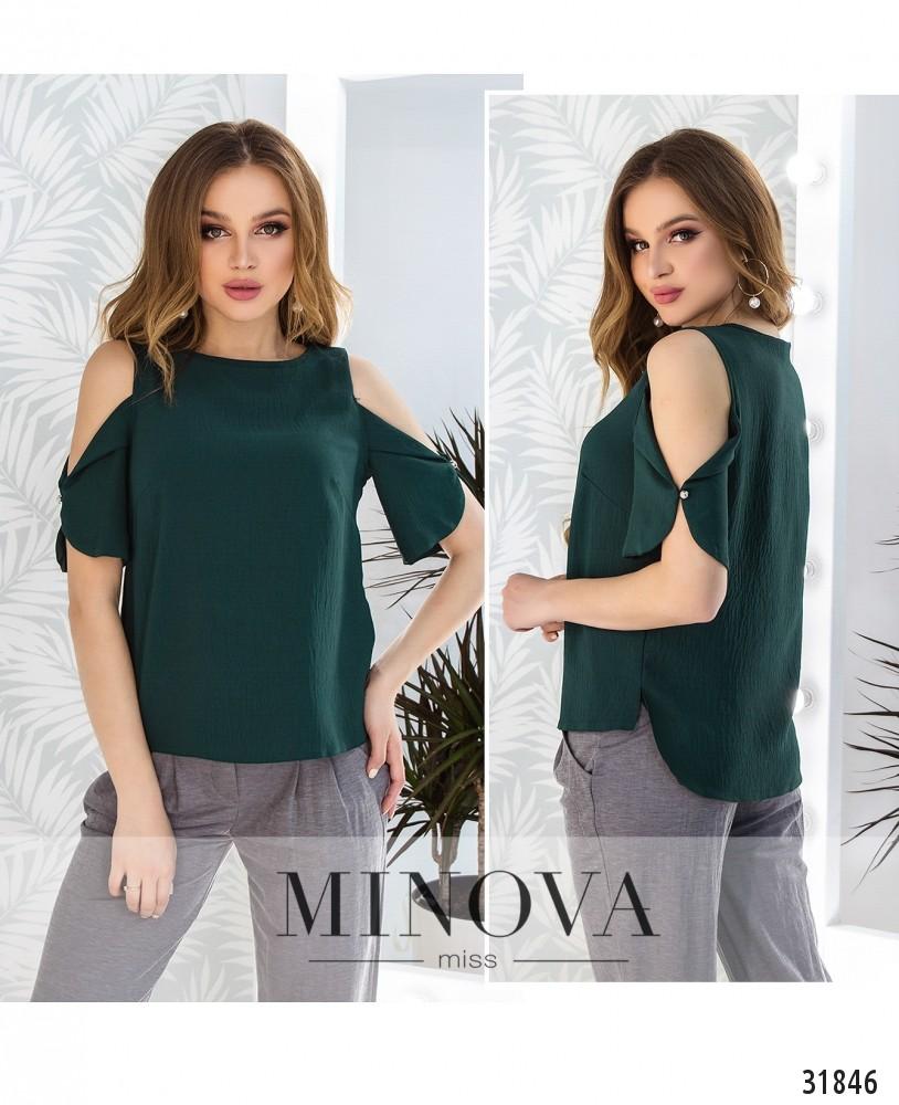 Блуза №4087н-темно-зеленый (н)