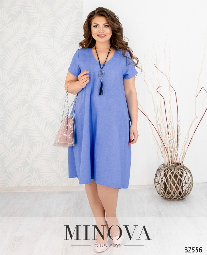 Платье №482А-голубой