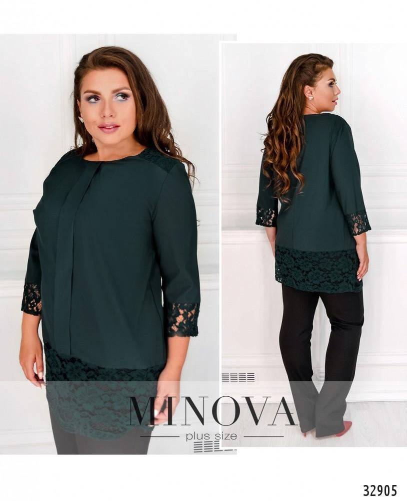 Блуза №4090-1-темно-зеленый