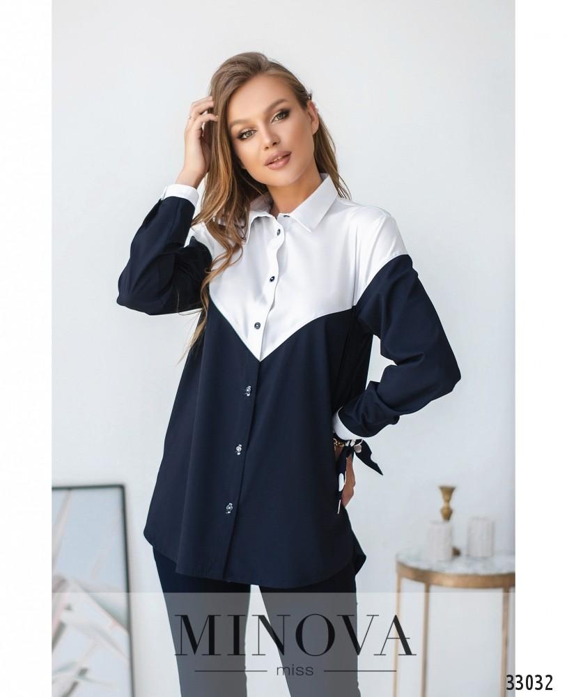 Рубашка №1826-бело-синий