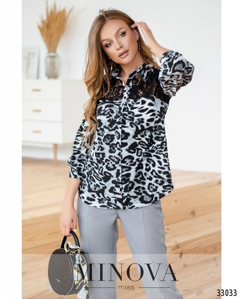 Рубашка №14411-серо-черный