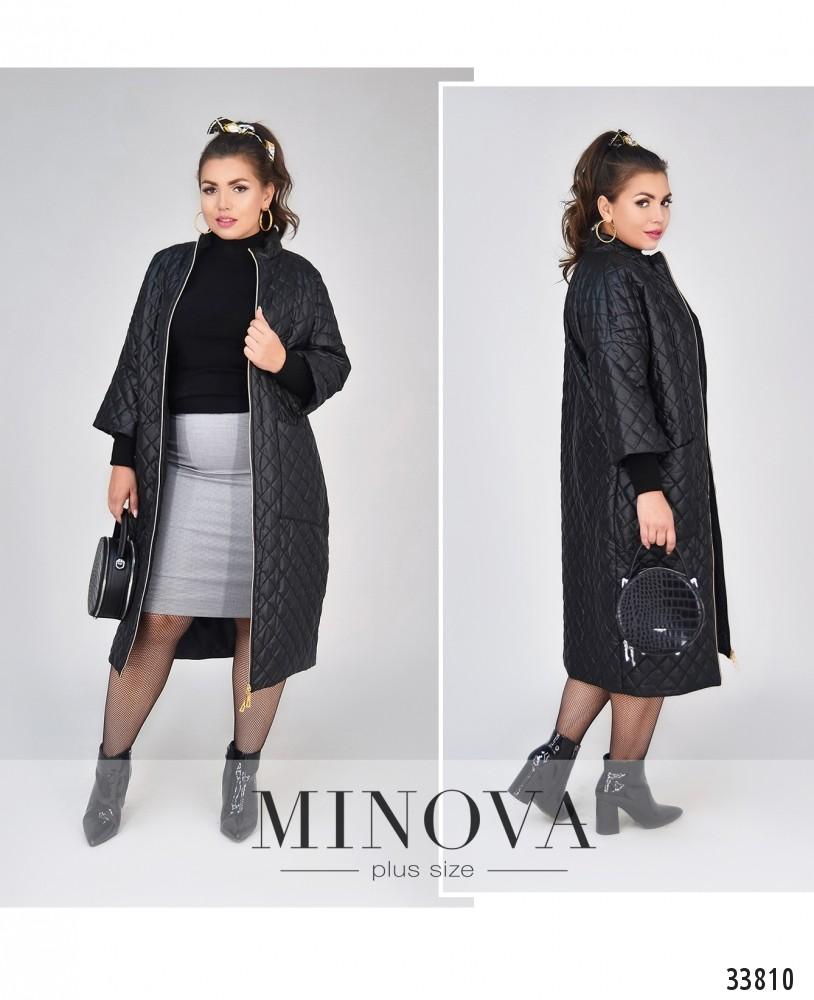 Пальто №1470-1-черный-ромб