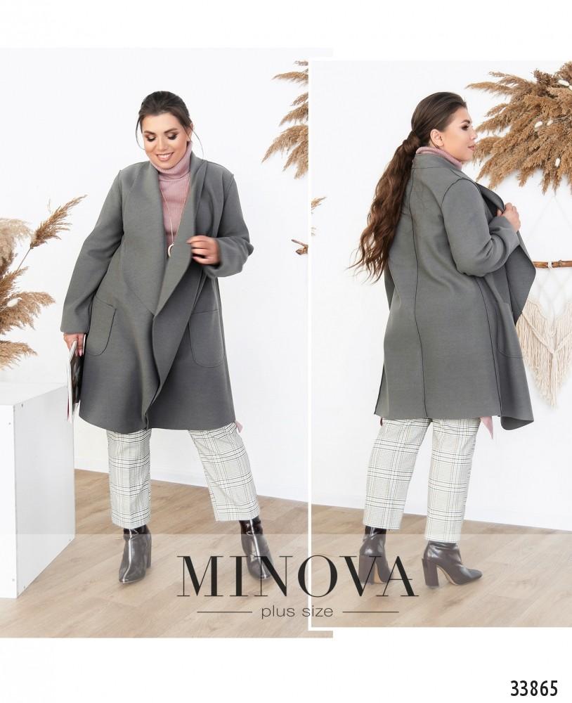 Пальто №1707-серый