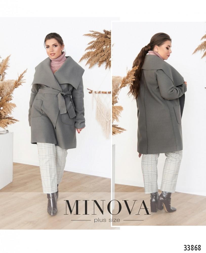 Пальто №1708-серый