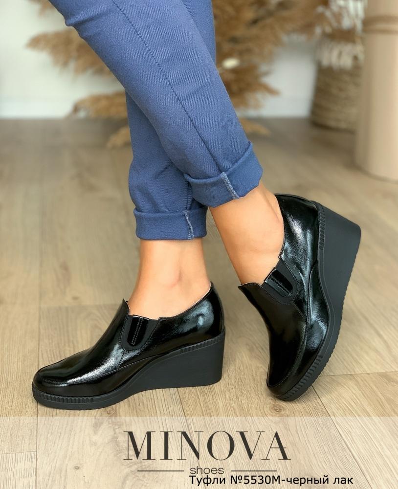 Туфли №5530М-черный лак
