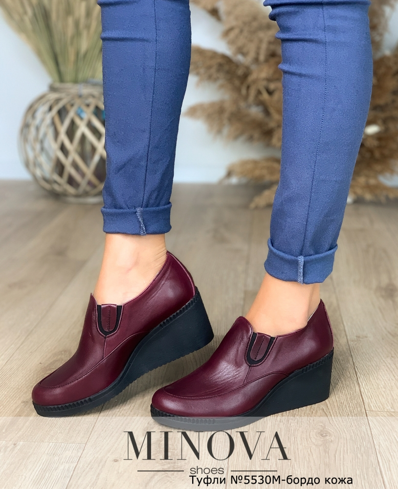 Туфли №5530М-бордо кожа