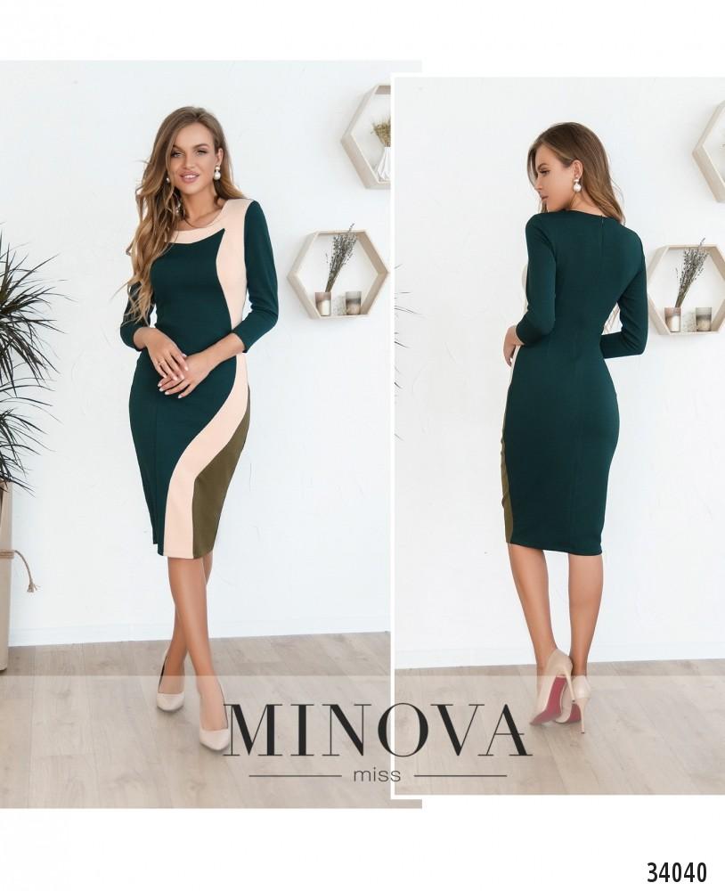 Платье №1871-темно-зеленый (н)