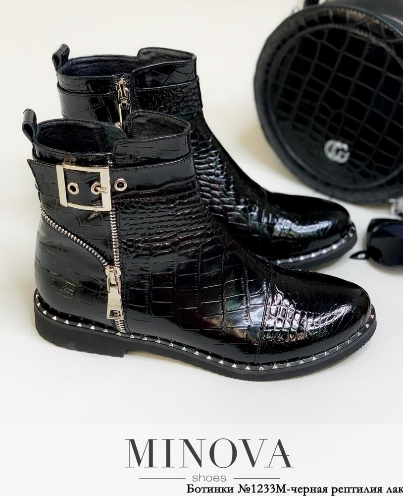 Ботинки ЦГ№1233М-черная рептилия лак
