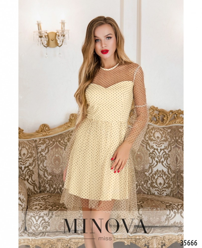 Платье №1876-бежевый