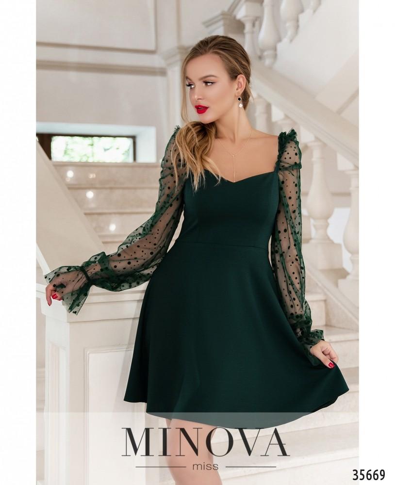 Платье №1877-темно-зеленый