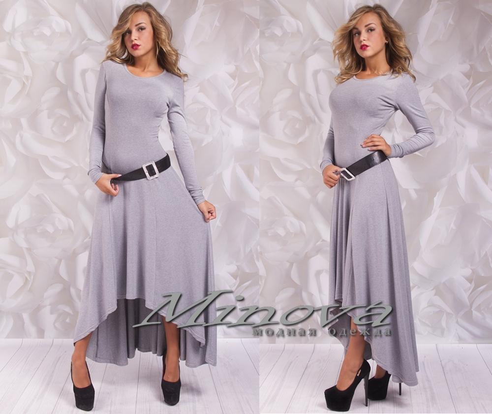 Платье № 3055-серый (sale)