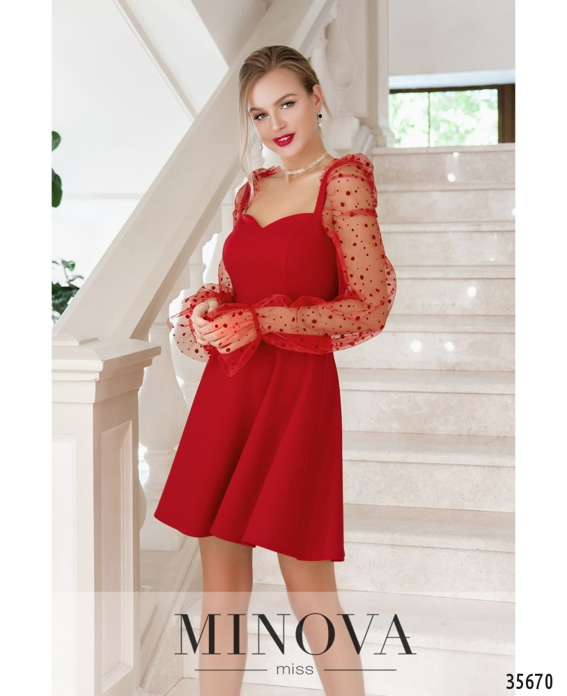 Платье №1877-красный