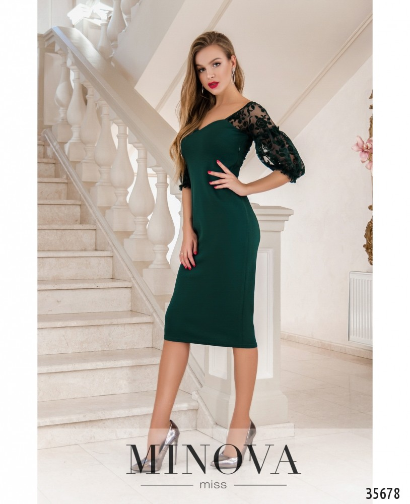 Платье №1887-1-темно-зеленый