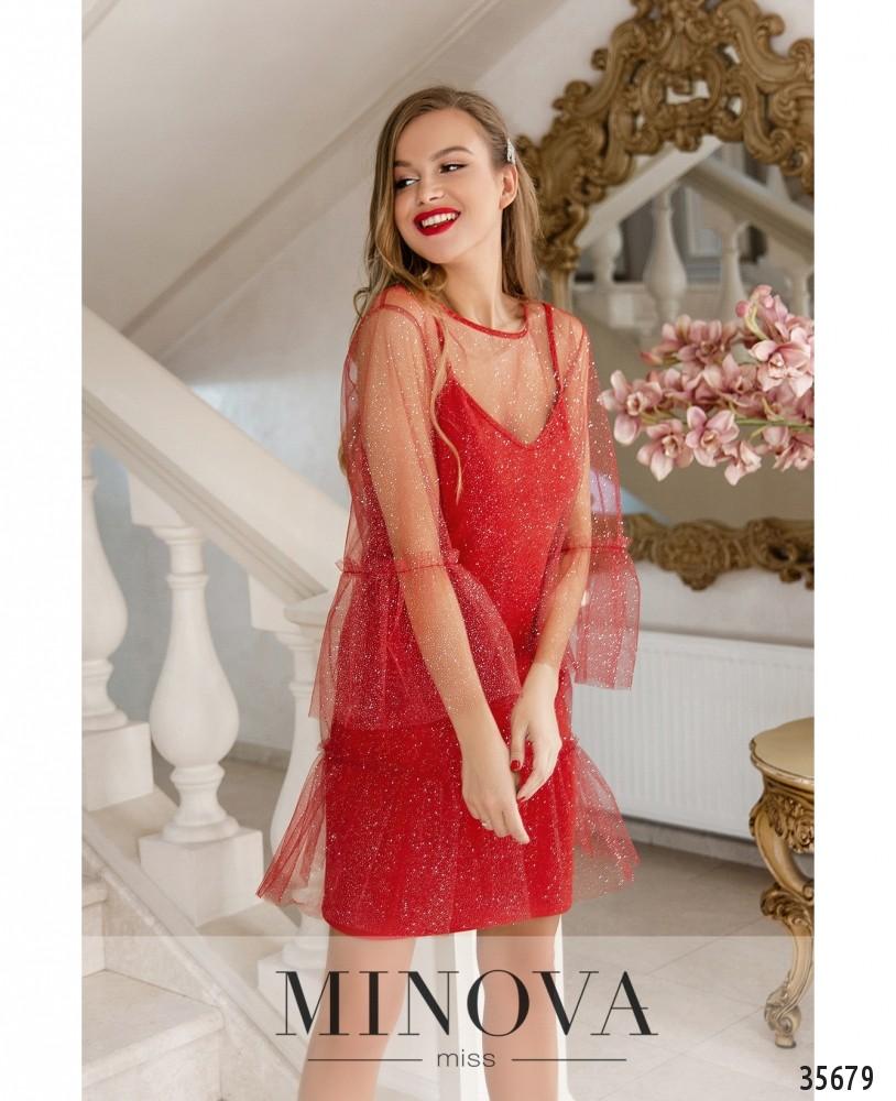 Платье №1881-красный