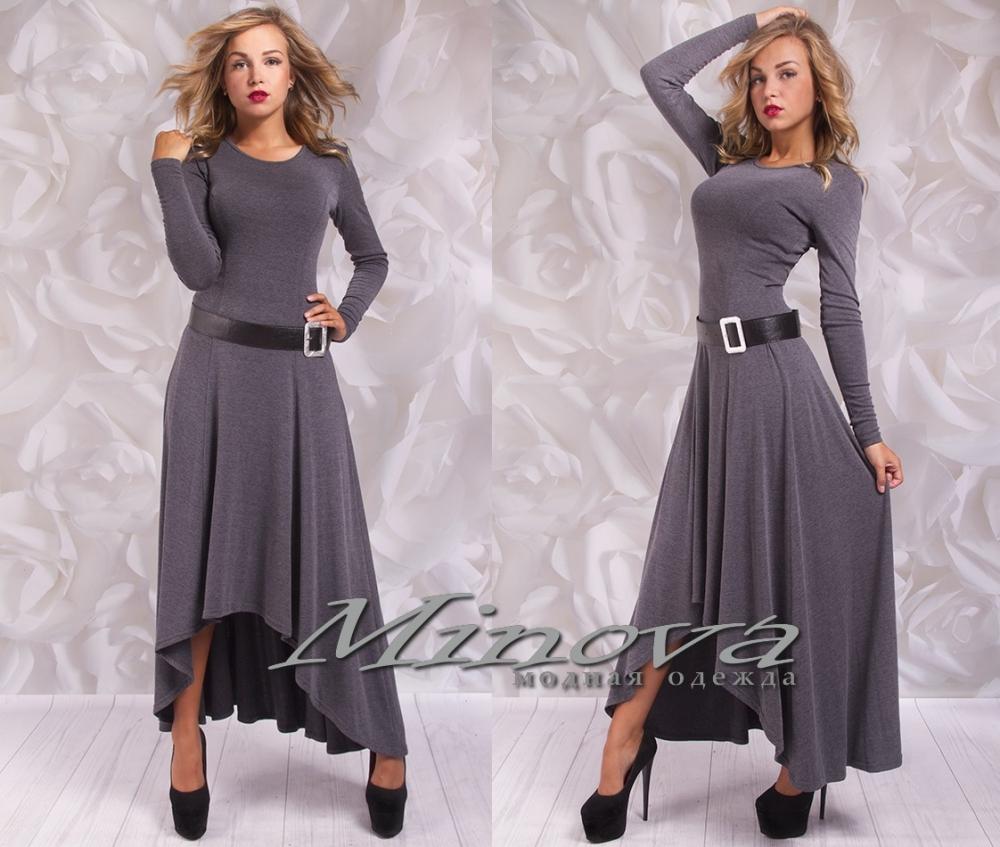 Платье №3055-тем.серый (sale)